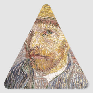 Van Gogh self portrait Triangle Sticker