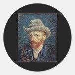 Van Gogh Self-Portrait with Grey Felt Hat Classic Round Sticker