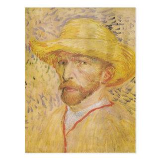 van Gogh - Self Portrait with Straw Hat (1887) Postcard