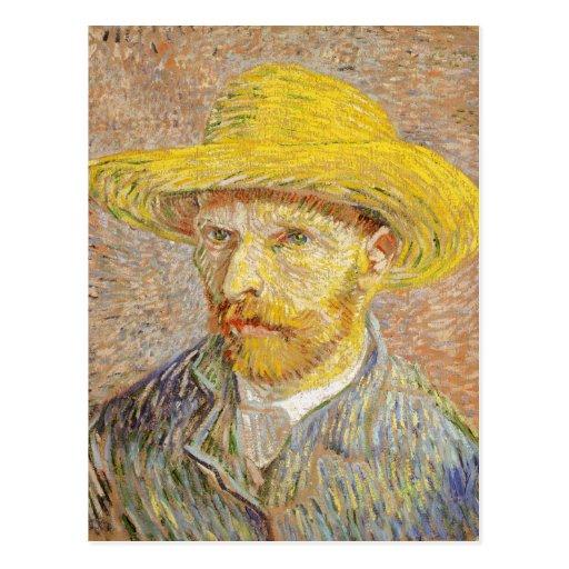 Van Gogh Self Portrait with Straw Hat Postcard