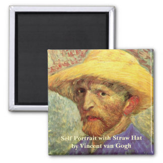 Van Gogh; Self Portrait with Straw Hat Square Magnet