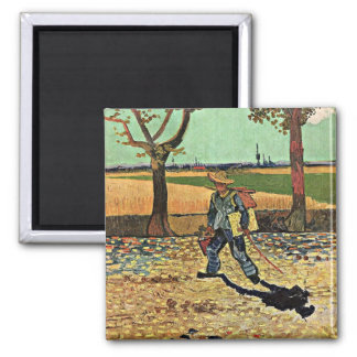 Van Gogh: Selfportrait on the Road Tarascon Square Magnet