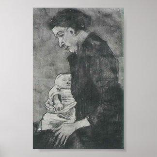 Van Gogh - Sien Nursing Baby Half-Figure Posters