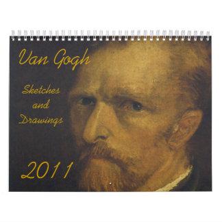 Van Gogh, Sketches and Drawings, 2011 Wall Calendars