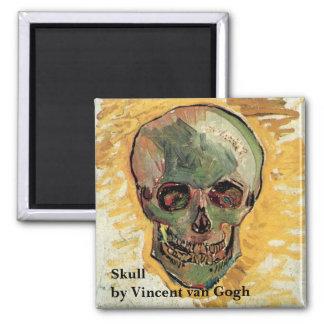 Van Gogh Skull, Vintage Still Life Impressionism Square Magnet
