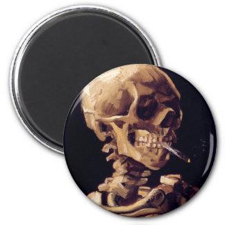 van gogh - skull with a burning cigarette fridge magnet