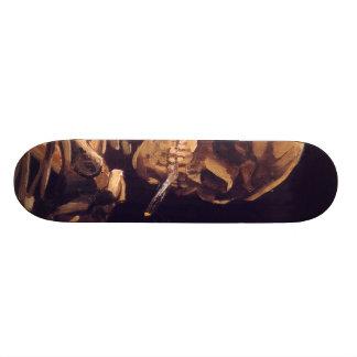 Van Gogh: Skull with Burning Cigaret Skate Board Deck