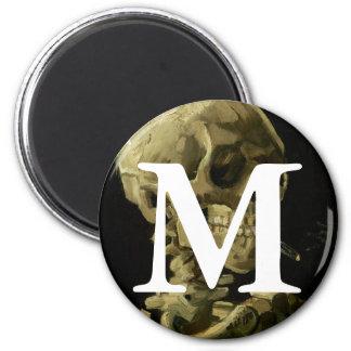 Van Gogh | Skull with Burning Cigarette | 1886 6 Cm Round Magnet