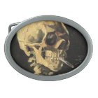 Van Gogh Skull with Burning Cigarette Belt Buckle