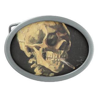 Van Gogh Skull with Burning Cigarette Belt Buckle