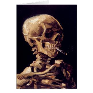 Van Gogh Skull with Burning Cigarette Card