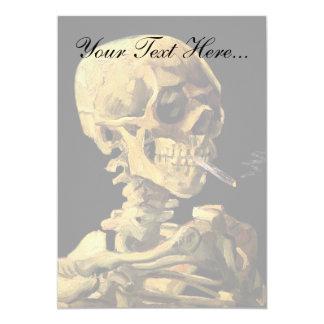 Van Gogh - Skull With Burning Cigarette 5x7 Paper Invitation Card