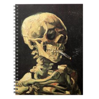 Van Gogh Skull with Burning Cigarette Notebook