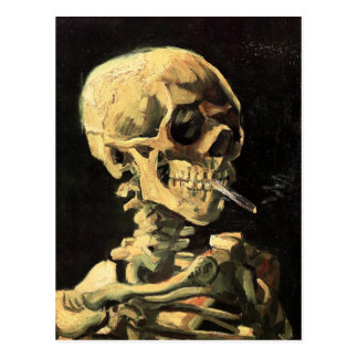 Van Gogh Skull with Burning Cigarette Postcard