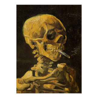 Van Gogh Skull with Burning Cigarette Posters