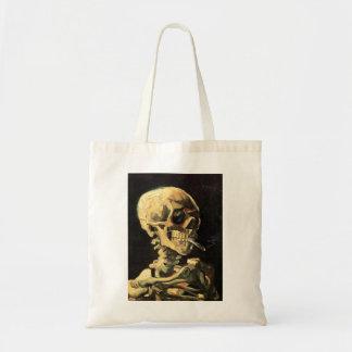 Van Gogh Skull with Burning Cigarette Tote Bag