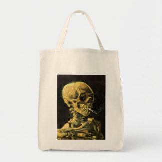 Van Gogh Skull with Burning Cigarette, Vintage Art Tote Bag