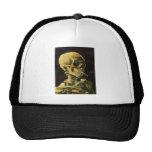 Van Gogh Skull with Burning Cigarette, Vintage Art Cap