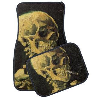 Van Gogh Skull with Burning Cigarette, Vintage Art Car Mat