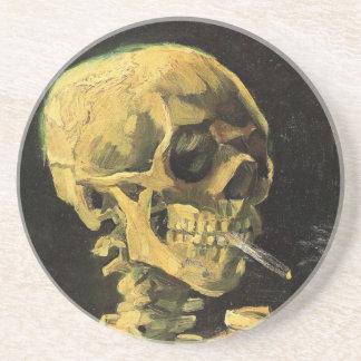 Van Gogh Skull with Burning Cigarette, Vintage Art Drink Coasters