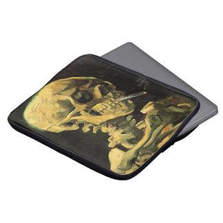 Van Gogh Skull with Burning Cigarette, Vintage Art Laptop Sleeve