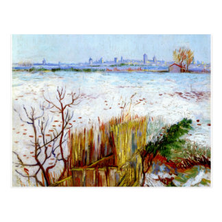Van Gogh-Snowy Landscape with Arles in Background Postcard