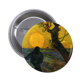 Van Gogh Sower With Setting Sun Button