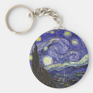 Van Gogh Starry Night Basic Round Button Key Ring