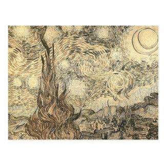 van gogh starry night drawing postcard