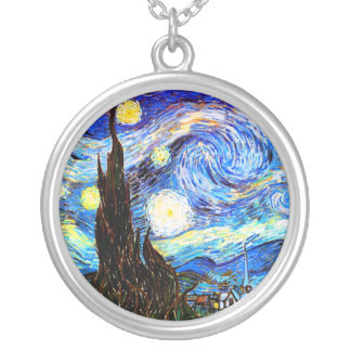 Van Gogh Starry Night Fine Art Silver Plated Necklace