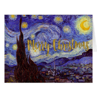 Van Gogh Starry Night Gold Faux Foil Christmas Big Greeting Card