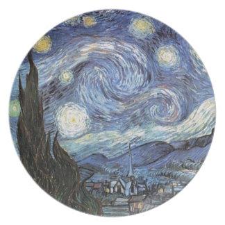 Van Gogh Starry Night Impressionist Painting Dinner Plate