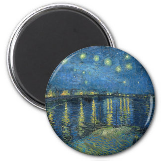 Van Gogh: Starry Night Over the Rhone 6 Cm Round Magnet