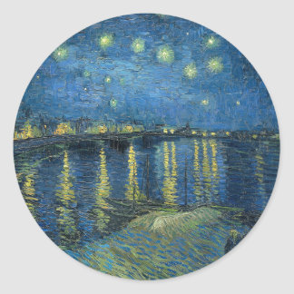 Van Gogh: Starry Night Over the Rhone Classic Round Sticker