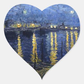 Van Gogh: Starry Night Over the Rhone Heart Sticker