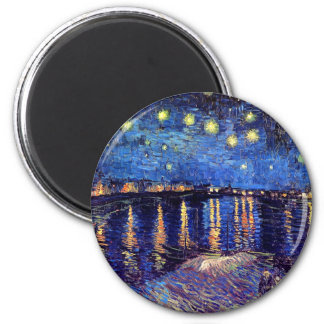 Van Gogh - Starry Night Over The Rhone 6 Cm Round Magnet