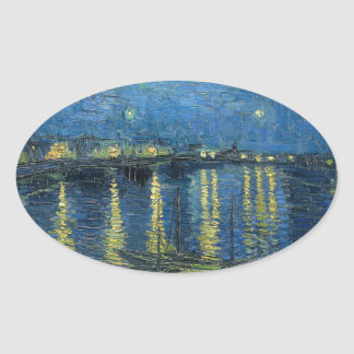 Van Gogh: Starry Night Over the Rhone Oval Sticker