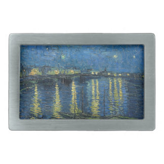 Van Gogh: Starry Night Over the Rhone Rectangular Belt Buckles
