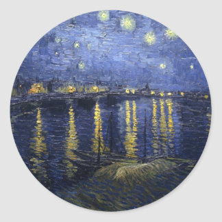 Van Gogh Starry Night Over the Rhone Round Sticker