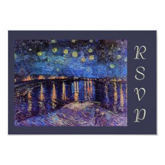 Van Gogh Starry Night over the Rhone rsvp 9 Cm X 13 Cm Invitation Card