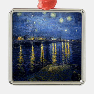 Van Gogh: Starry Night Over the Rhone Silver-Colored Square Decoration