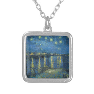 Van Gogh: Starry Night Over the Rhone Silver Plated Necklace