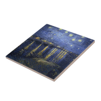 Van Gogh Starry Night Over The Rhone Small Square Tile