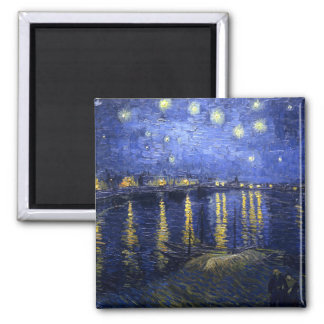 Van Gogh: Starry Night Over the Rhone Square Magnet