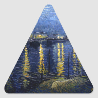 Van Gogh: Starry Night Over the Rhone Triangle Sticker
