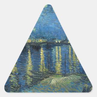 Van Gogh: Starry Night Over the Rhone Triangle Sticker
