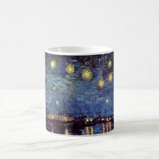 Van Gogh Starry Night Over the Rhone, Vintage Art Basic White Mug