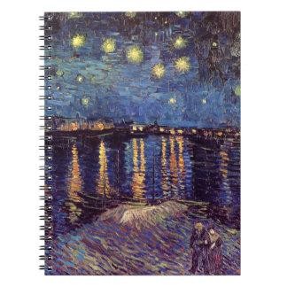 Van Gogh Starry Night Over the Rhone Vintage Art Spiral Note Books