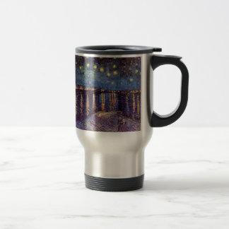 Van Gogh Starry Night Over the Rhone, Vintage Art Stainless Steel Travel Mug