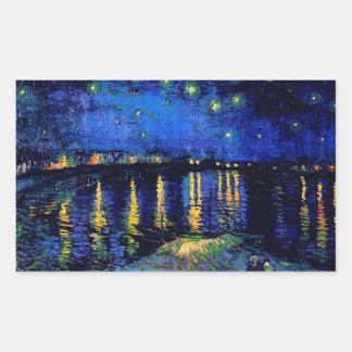 Van Gogh Starry Night Rhone (F474)  Fine Art Rectangle Stickers